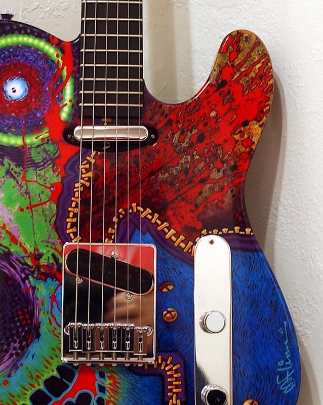 artist painted guitar